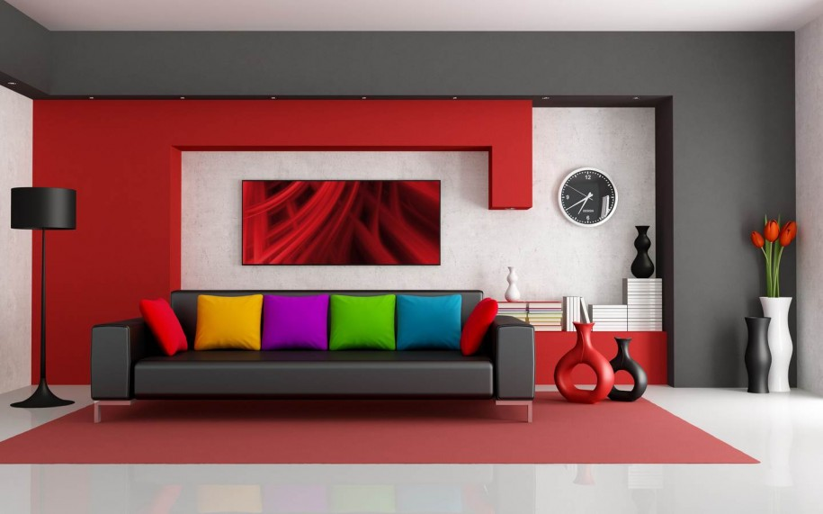 assorted-color-for-pillows-on-modern-black-sofa-adorn-contemporary-living-room-with-black-floor-lamp-as-well-as-white-floor-915x571