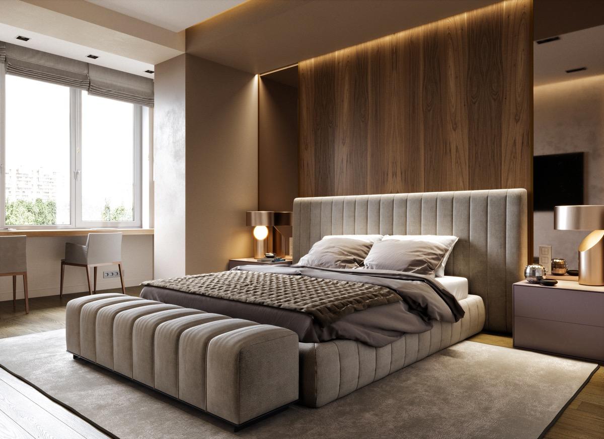 ahsap yatak odasi dekorasyonu